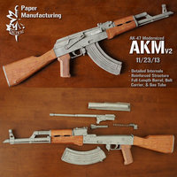 1:1 Scale 87cm AKM AK47 Paper Model 4 Colors Paper Model Gun DIY Papercraft Toy