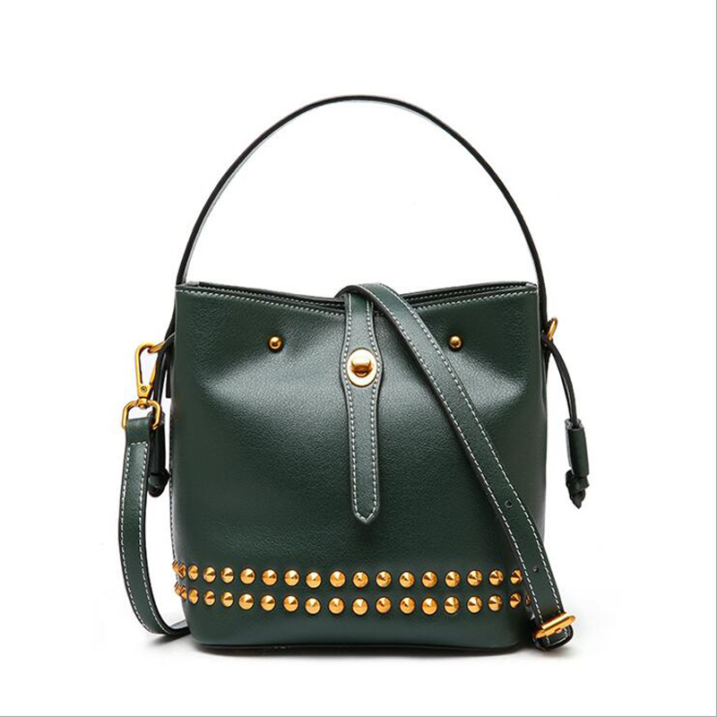 2019 Spring Autumn Famous Brand Designer Womens Bucket Bag Genuine Leather Ladies Handbag Rivet Female Shoulder Bag Female 0042019 Spring Autumn Famous Brand Designer Womens Bucket Bag Genuine Leather Ladies Handbag Rivet Female Shoulder Bag Female 004