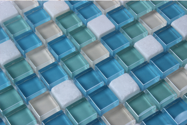 blue glass mixed white stone mosaic tiles EHGM1049E for swimming ...