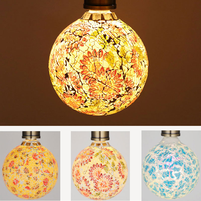Delicious 7 Style E27 Special Fireworks Glass Led Bulb Mosaic Creative Luxury Lamp Coffee Shop Restaurant Home Decoration Light Bulb