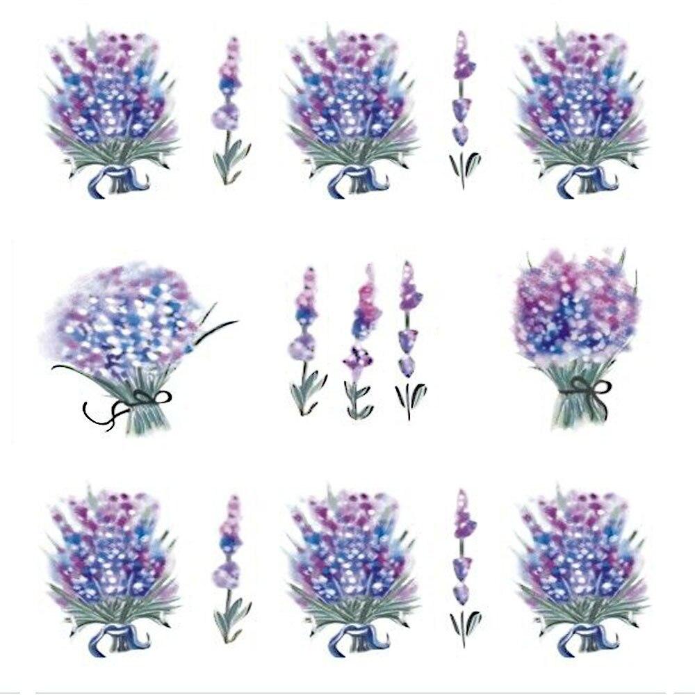 1 Blatt Nagel Aufkleber Blume Wasser Abziehbilder Lavendel ...