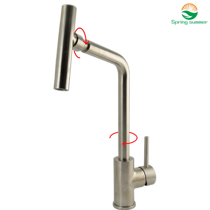 Kitchen Faucet Single Handle 360 Degree Swivel Spout 304 Stainless Steel Kitchen Tap Mixer Kitchen Mixer Faucets Waterfall CF110