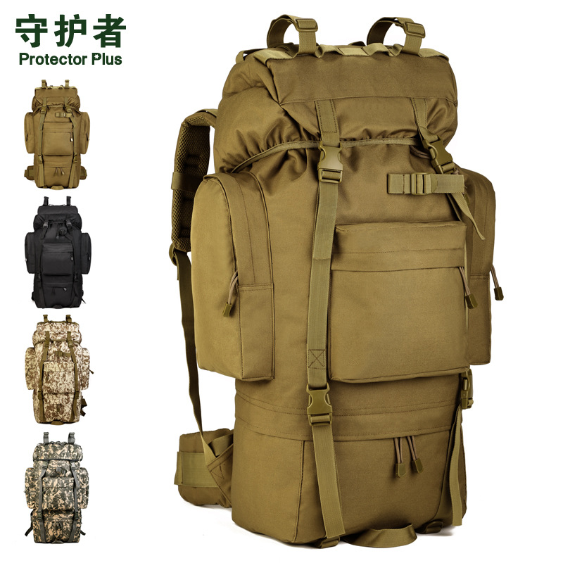 65L large outdoor waterproof mountaineering bags tactical backpack tourist travel large luggage bag  A3194 design waterproof travel backpack outdoor mountaineering backpack patchwork super large luggage storage internal drawstring bag