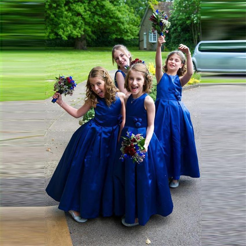 Buy royal blue flower girl dresses for for Blue dresses to wear to a wedding