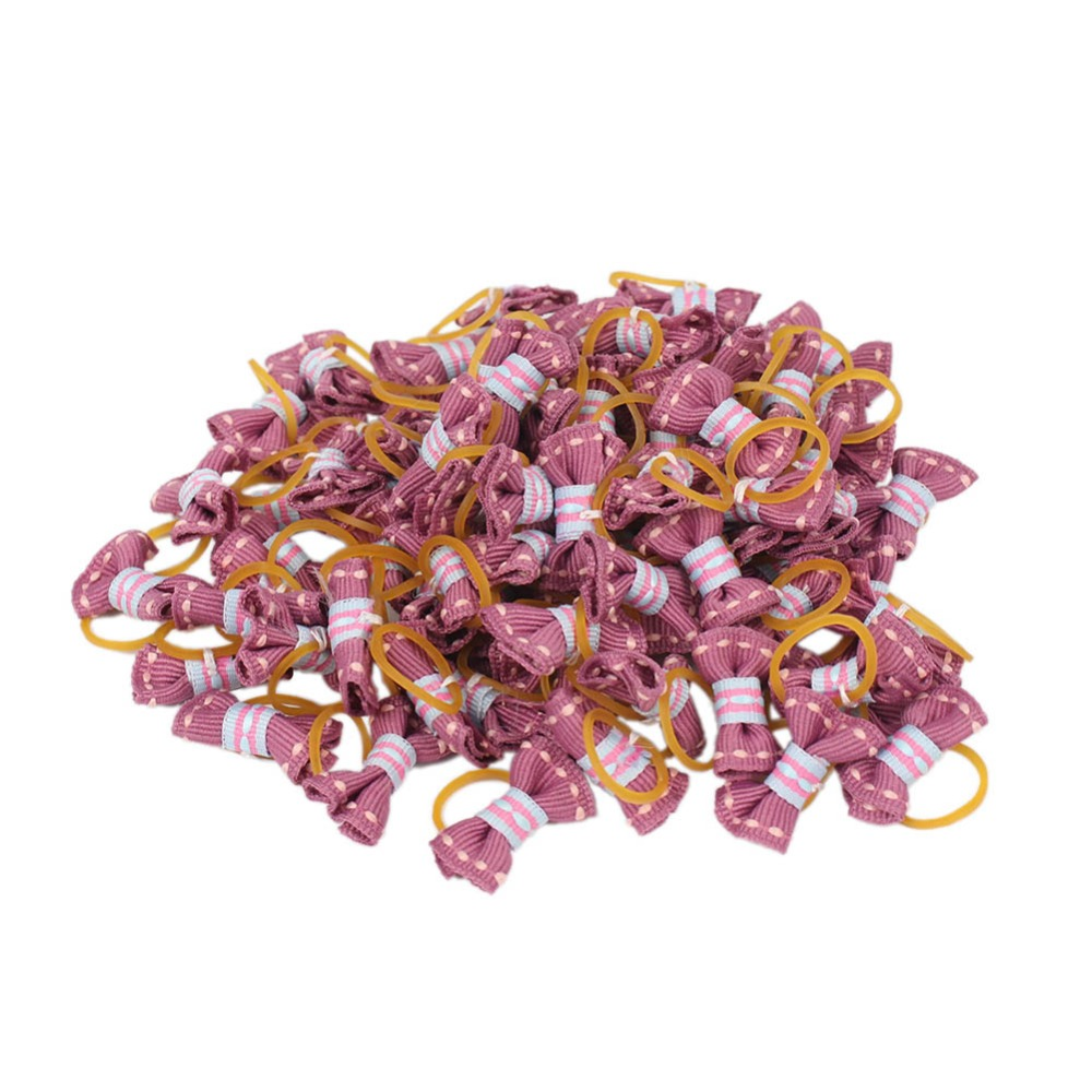 50pcs/lot Wholesale Tiny Dogs Bows with Rubber Bands Hair Accessories Mini For Small Yorkshire Grooming Supplies