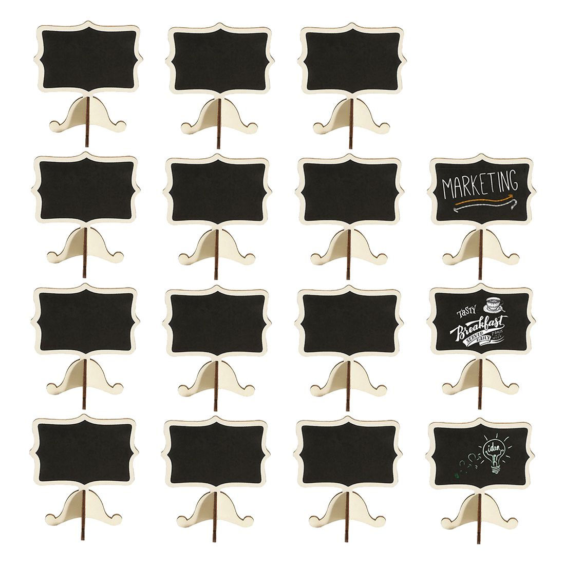15 Pack Mini Chalkboards Place Cards with Easel Stand - Wood Rectangle Small Chalkboard Signs for Wedding, Birthday Parties, T