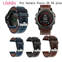 26mm Luxury Leather bracelet smart watch Replacement Wristband for Garmin Fenix 5X plus band adjustable buckle