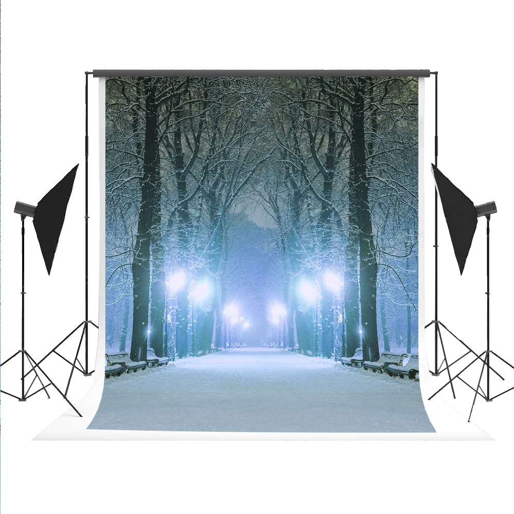 Kate Winter Photo Background Snow Boulevard Street Backdrop Night Tree Bokeh Light Photocall for Wedding Studio Fond 5x7ft