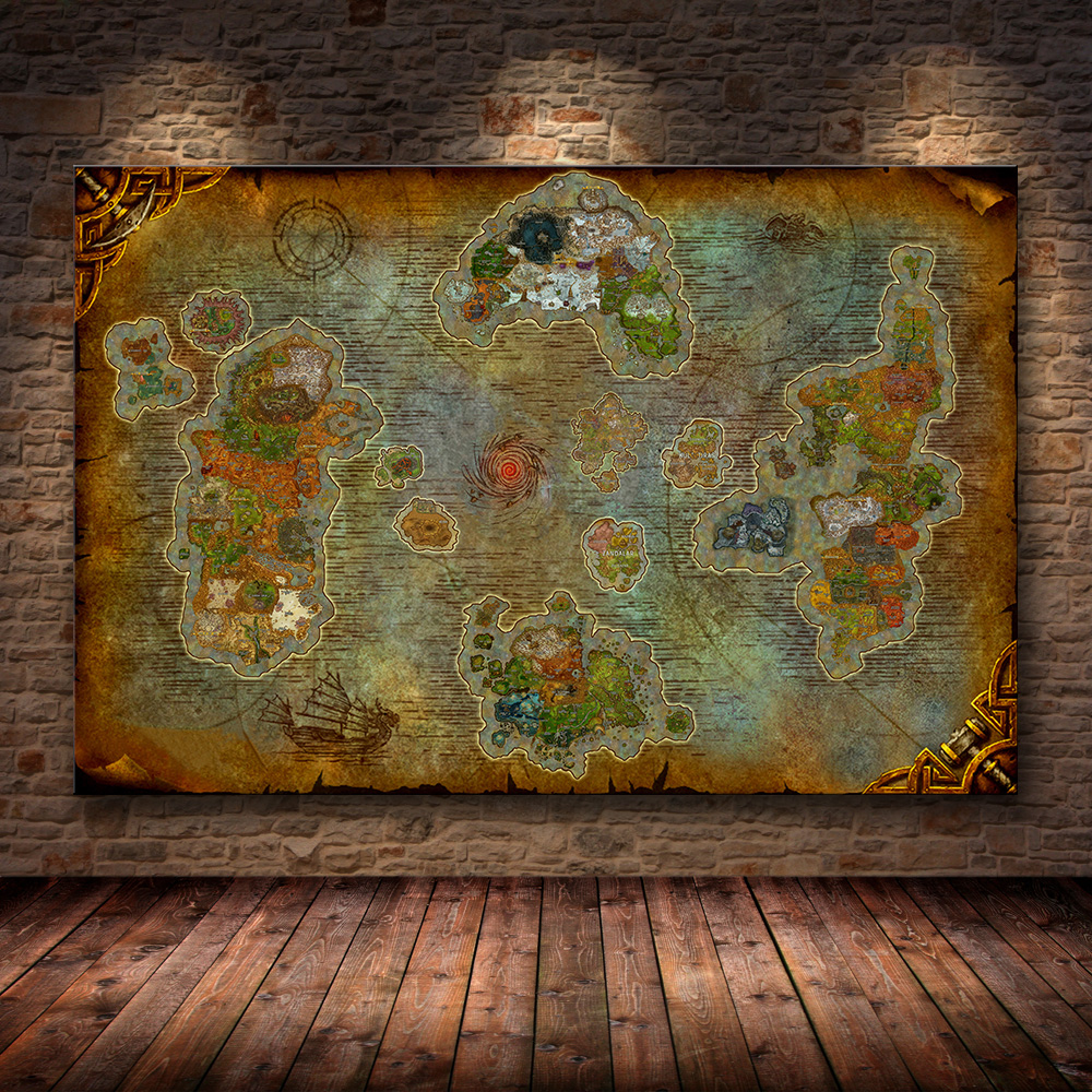 World of Warcraft MAP Chronicles  Azeroth Game Scroll Painting Poster Map New8.0