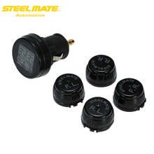 Steelmate TPMS Tire Strain Monitor System TP-74P/B four Sensors Wi-fi DIY Automotive Alarm System Diagnostic Software with LCD Show