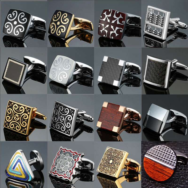 Environment-friendly Carbon Fiber Mahogany Cufflinks Square Laser Lattice Carving Pattern Men's French Shirt Cufflinks