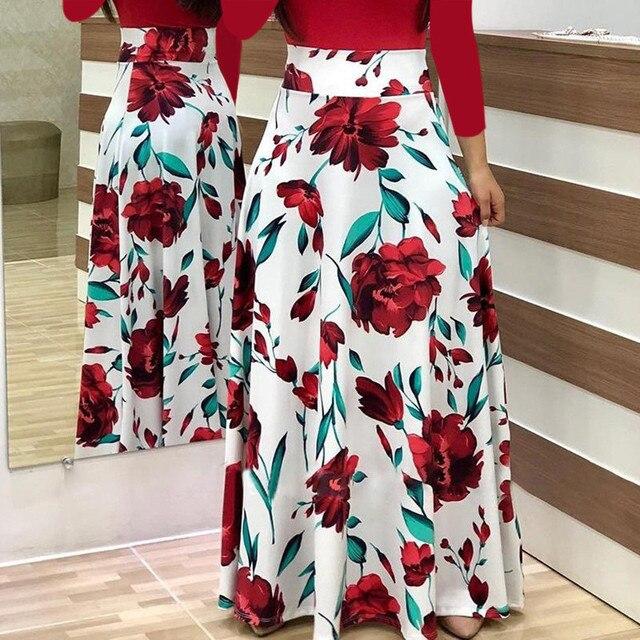 Plus Size 2019 Fashion Women dress Long Sleeve Printed patchwork Elegant Vintage Maxi Dress Ladies summer Casual vestido floral 6