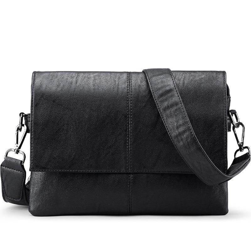 Marca de lujo de cuero de los hombres bolsa de los hombres ocasionales bolsas de mensajero de cuero de la vendimia bandolera maletín de negocios masculino pequeño bolso de hombro