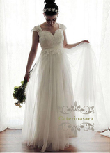 Dramatic Sweetheart Sheath wedding dress Lace Appliques Cap Sleeves Bride Gowns with Waist Band Backless Plus Size