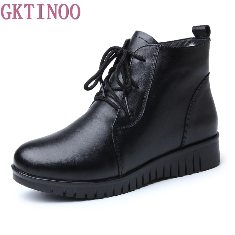 GKTINOO Women's Boots Genuine Leather Wool Warm Winter Boot Ankle Boots For Women Flat Fur Fashion Lace up Black Ladies Shoes pritivimin fn81 winter warm women real wool fur lined shoes ladies genuine leather high boot girl fashion over the knee boots