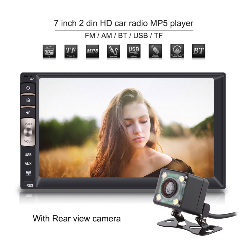 7 inch Universal 2 Din Bluetooth USB/TF FM Aux Input Car Radio MP5 Player w/ Rear View Camera