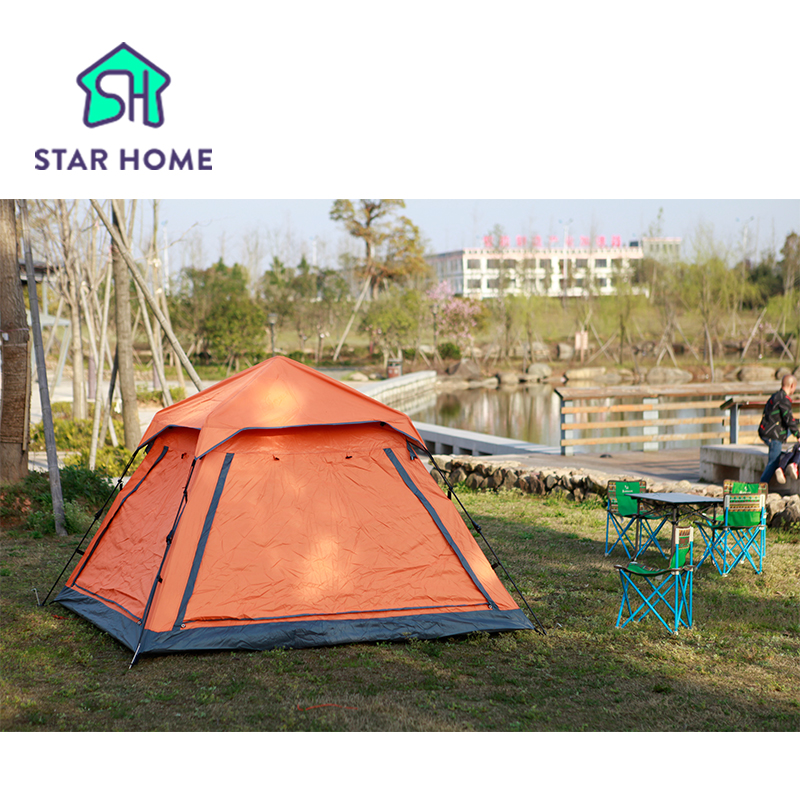 Star Home Outdoor Camping Tent Automatic Quick Set Up  3-4 Man Breathable Windproof Waterproof Anti-Mosquito Beach camping tent outdoor camping tent 3 4 beach tent camping tent single summer mosquito children play tent