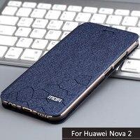 Original Mofi Brand Leather Case Huawei Nova 2 Case Flip Leather Cover Stand Holder TPU Soft