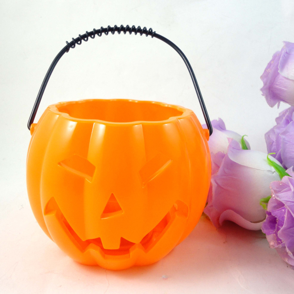 Halloween Party Decorations Bars Props Hollowed Out Plastic Pumpkin Lantern Portable Pumpkin Jar halloween decor fake human bones lifelike plastic skeleton haunted house decorations props loose bones 28 pieces