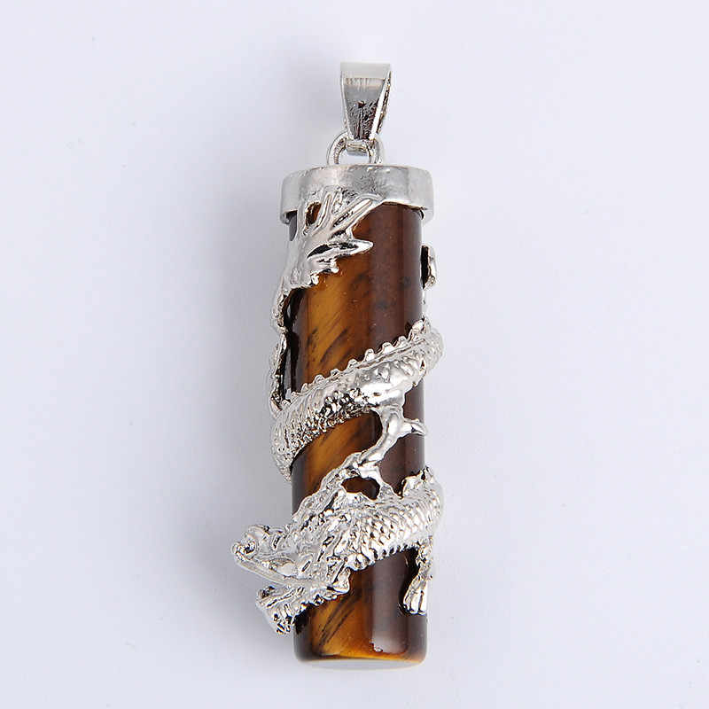 New Dragon Wrap Drop Natural Stone tiger eye  Pendants Female Male Jewelry Blue white Quartz Gem Pendulum Amulet Jewellery
