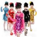 2016 Fashion Children Latin Dance Dresses For Kids Clothes Girls Ballroom Paillette Dress tutu Costume Girl Dresses FreeShipping
