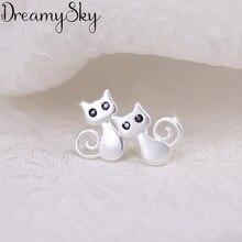DreamySky 100% prawdziwy srebrny kolor czarne oko kot kolczyki dla kobiet moda komunikat biżuteria Pendientes
