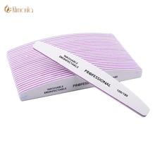 10 шт./лот профессиональная пилка для ногтей 100/180 в форме полумесяца наждачной бумагой, инструменты для блоки шлифовальные маникюр с полировкой инструменты для ухода за глазами