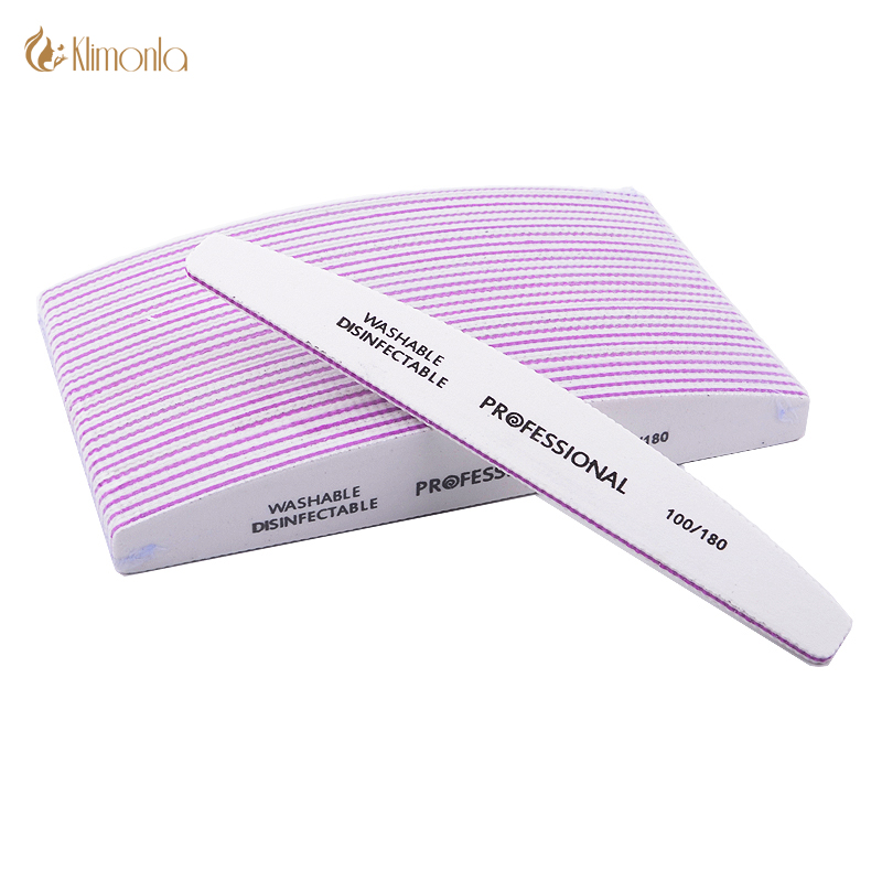 10pcs/lot Professional Nail File 100/180 Half Moon Sandpaper Nail Sanding Blocks Grinding Polishing Manicure Care Tools