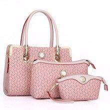 2016 nuevos Bolsos de Las Mujeres 3 Sets PU Bolso De Cuero Mujeres Messenger Bags Ladies Tote Bag + Bolso + monedero zs638