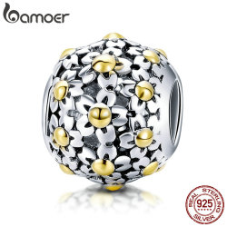 BAMOER Genuine 925 Sterling Silver Yellow Daisy Flower Charm Beads fit Women Charm Bracelets & Necklace DIY Jewelry SCC717