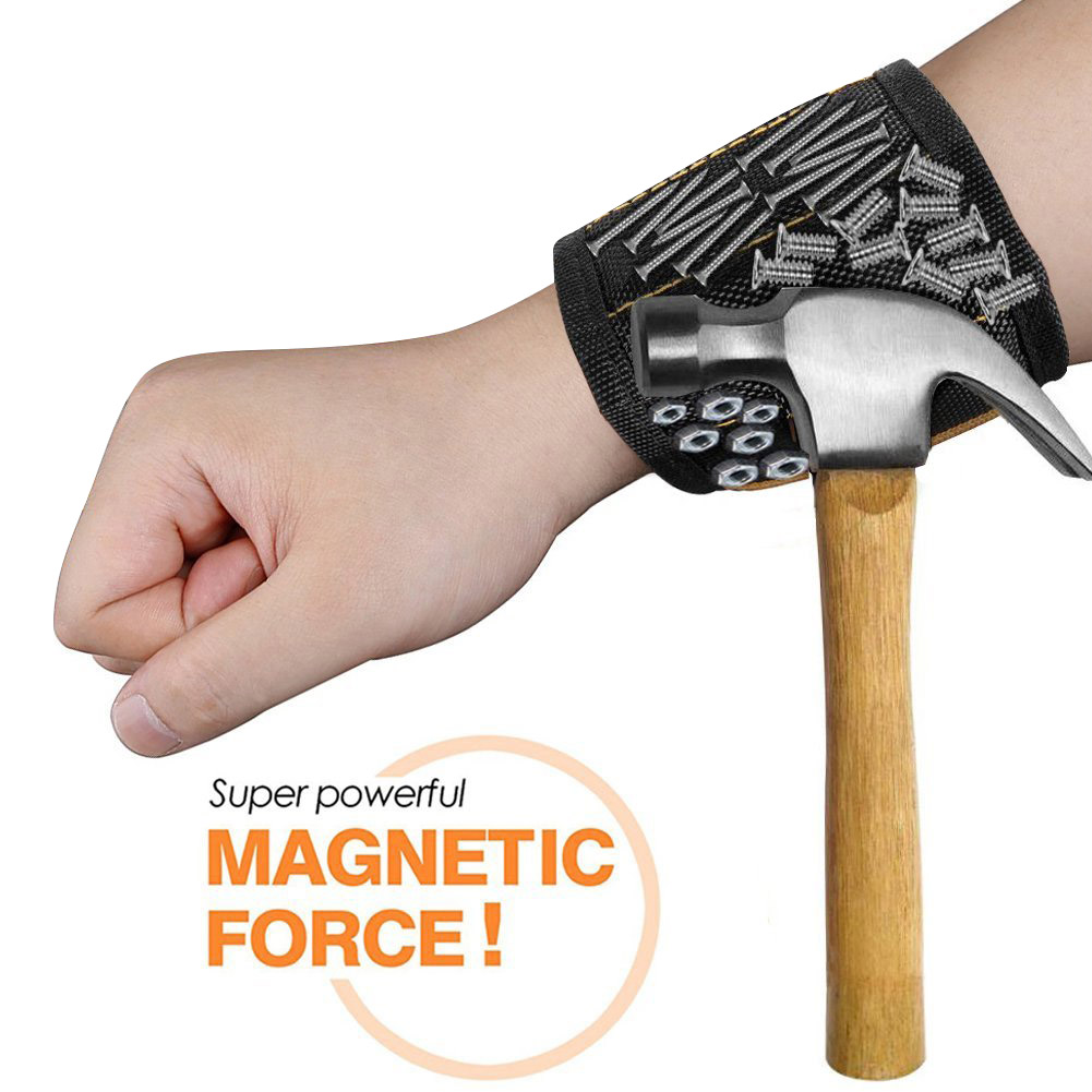 Magnetic Wristband With 10/15pcs Strong Magnets Screw Drill Bits Holder Electrician Tool Belt HVR88
