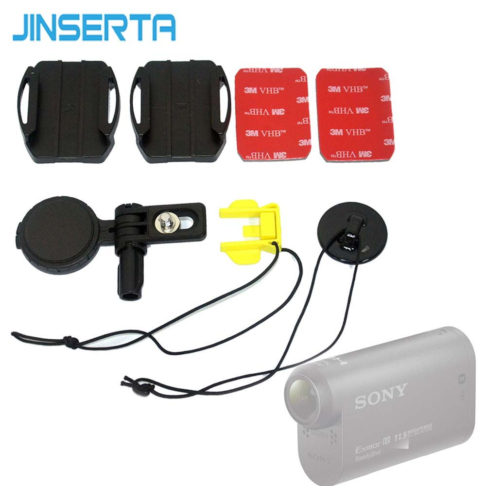 JINSERTA Helmet <font><b>Accessories</b></font> Kit for <font><b>Sony</b></font> Camera HDR-AS200V HDR-AS300 <font><b>AS30V</b></font> AS100V AZ1 AS15 AS20 AS50 VCT-HSM1 image