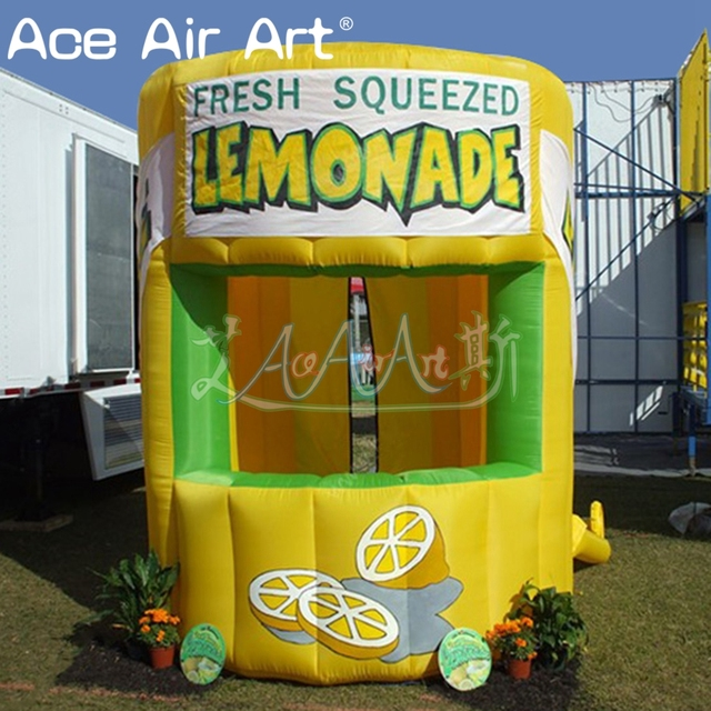 Hot sale inflatable lemonade sale stand grande boothlemon juice concession tent with removable banners for summer entertainment & Hot sale inflatable lemonade sale stand grande boothlemon juice ...