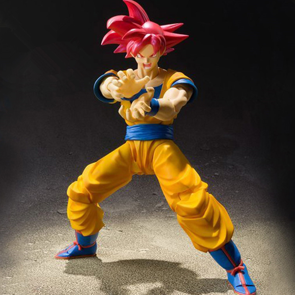 Hot Anime Dragon Ball Z PVC Action Figure Toys Super Saiyan Red Hair Son Goku Model Dolls