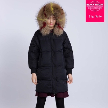 Winter new fashion brand real duck down coat female single breasted hooded with real fur collar hooded warm down jacket wq122
