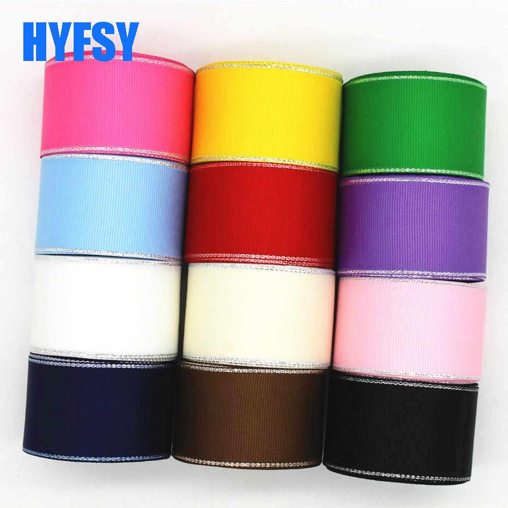 Nuevo 10 16 25 38mm borde plateado cinta 10 yardas DIY hecho a mano materiales lazo de adorno para el cabello regalo embalaje accesorios de ropa