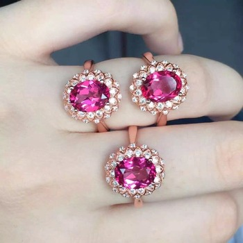 Hot Sale Women's Beautiful Red Topaz Ring Retro S925 Sterling Silver Red Gem Ring Wedding Gift