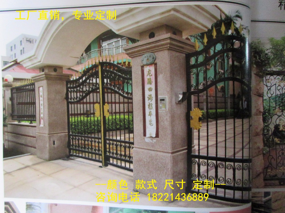 Custom Made Wrought Iron Gates Designs Whole Sale Wrought Iron Gates Metal Gates Steel Gates Hc-g92