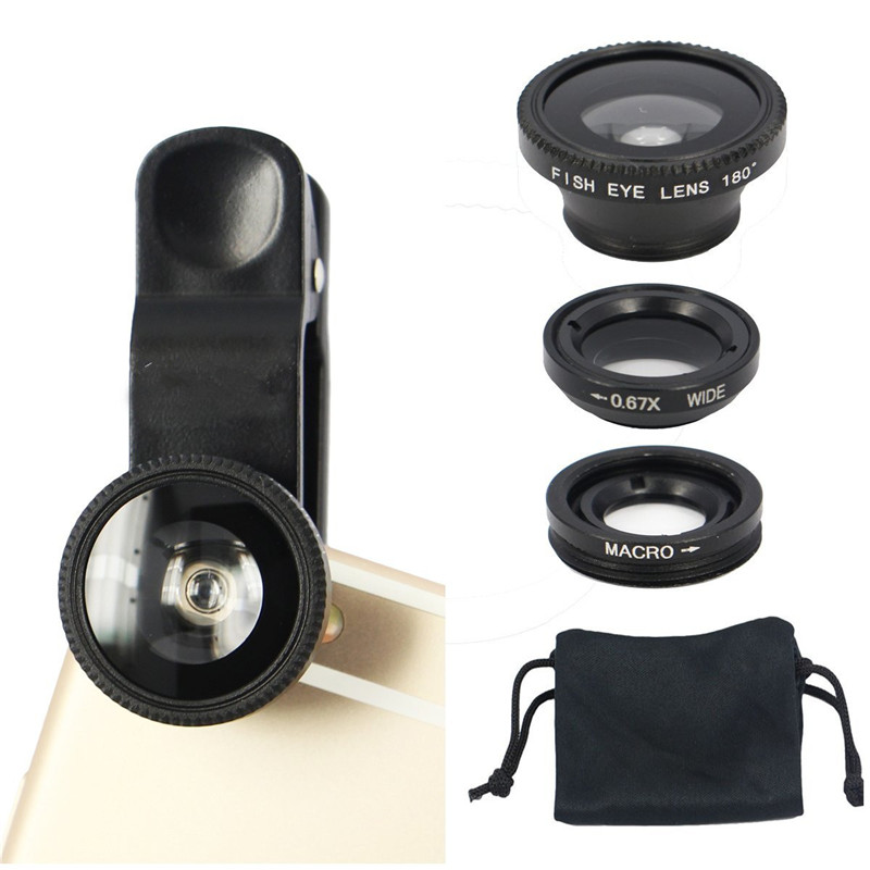 3 in 1 Clip On Phone Lens Fish Eye 0.67X Wide Angle 10X Macro camera Lens Universal HD Lens kit For IPhone 7 6S Plus SE huawei