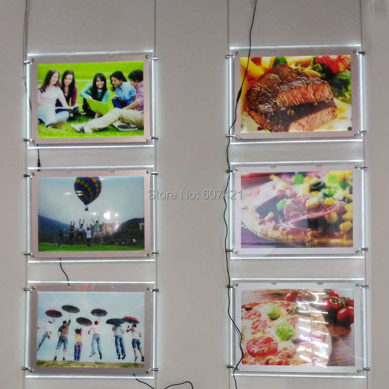 ФОТО (Pack/3units) A3 Single Sides Cable Suspension Display Systems,Suspended Window Signage Display Kits