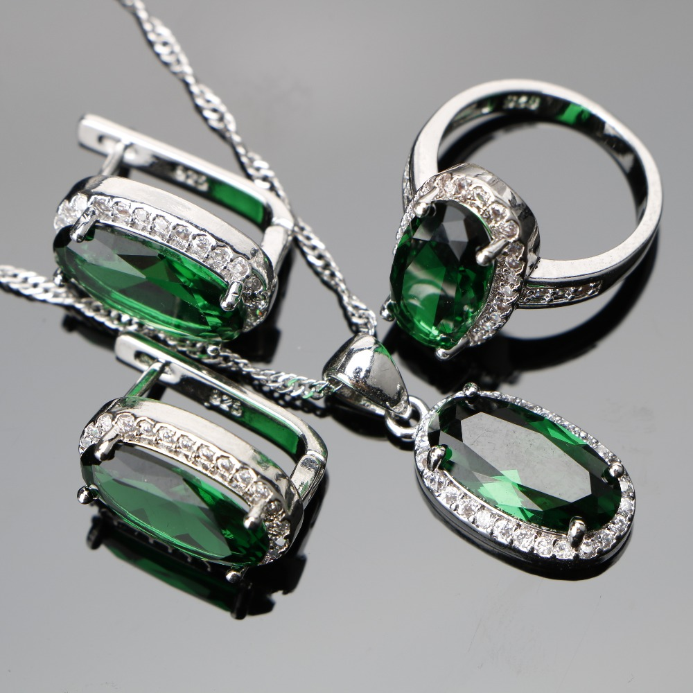 все цены на Green Zircon Women Silver 925 Costume Wedding Jewelry Sets Pendant Necklace Rings Earrings With Stones Set Jewellery Gift Box