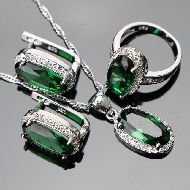 Green Zircon Women Silver 925 Costume Wedding Jewelry Sets Pendant Necklace Ring
