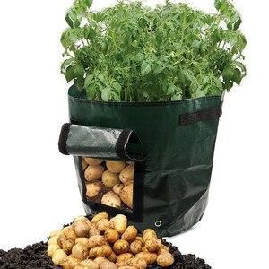 Image 4 - Roślina warzywna powiększająca torba DIY sadzarka do ziemniaków PE tkanina pomidorowa sadzenie torba pojemnik zagęścić doniczka ogrodowa narzędzia ogrodowe