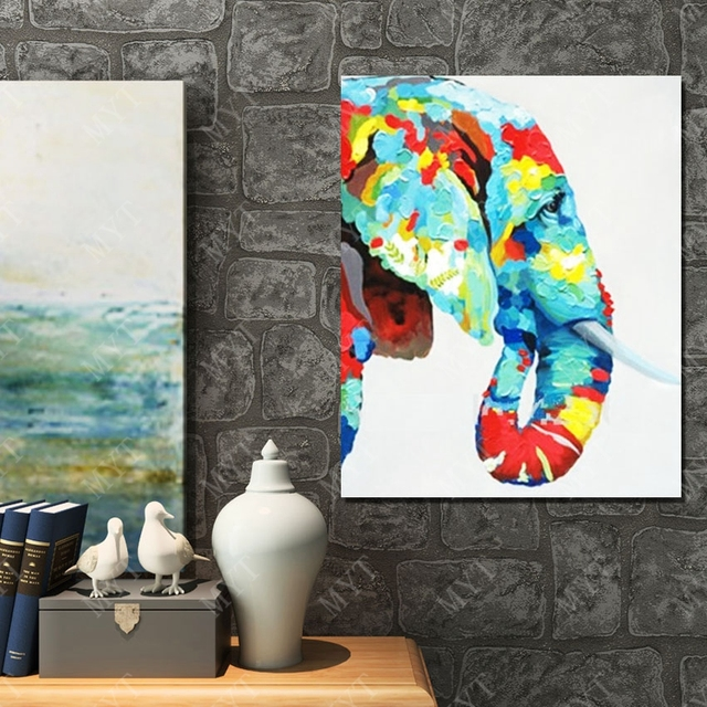 Hand Drawing Free Shippng Elephant Head Picture Wall Decoration Top