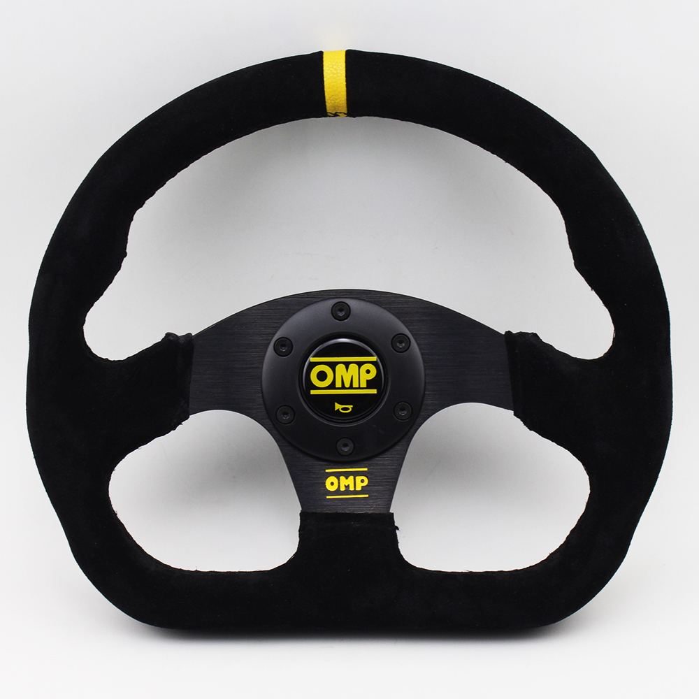13 inch OMP Drift Steering Wheel Suede Leather Flat Game Steering Wheel