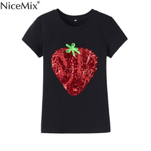 NiceMix 2017 Summer Sequin T Shirt Casual Cotton Female T-shirt Kawaii Strawberry Shirts Slim Harajuku Women Tops 29013