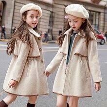 Элегантная шерстяная куртка для девочек; Европейский стиль; сезон осень-зима; Новое Детское твидовое пальто; детское утепленное повседневное пальто; верхняя одежда; P5