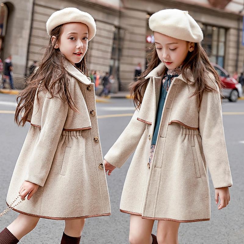 Girls Elegant Woolen Jacket European Style Autumn Winter New Kids Tweed Overcoat Children's Thickened Casual Coat Outerwear P5