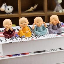 4pcs/set Kong Fu Little Monk Figurines Car Dolls Home Decor Desktop Shaolin Temple Monks Toys Car Accessories Ornament #A40