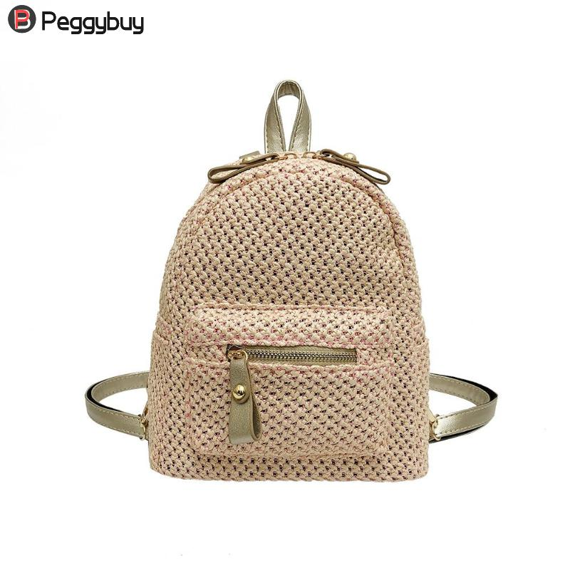 Fashion Girls Weave Mini Hollowed Backpack Shoulder Travel Bags Summer New Fashion Solid Weaving Casual Backpack